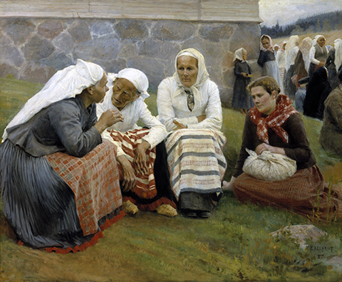 Mujeres fuera de la Iglesia en Ruokolahti