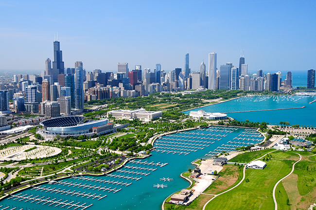 Downtown Chicago y Lago Michigan