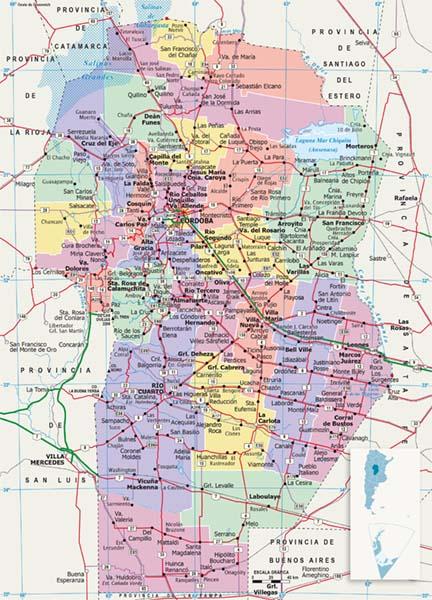 Mapa politico Cordoba