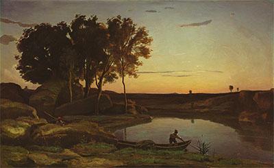 Paisaje con lago y barquero