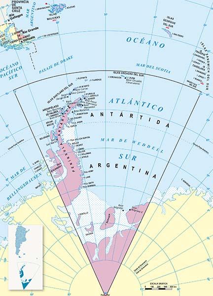 Mapa Politico Tierra del Fuego-Antartida