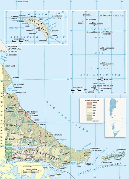 Mapa Politico Isla grande de Tierra del Fuego