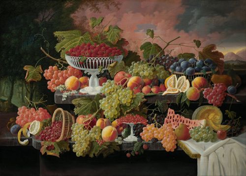 Still Life with fruit and sunset