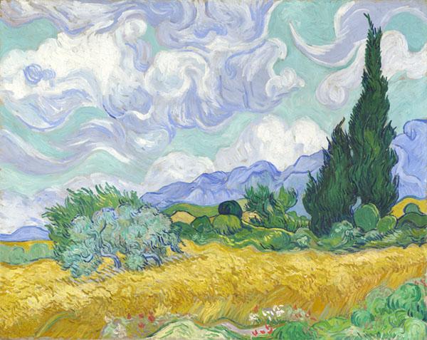 Campo de trigo con cipreses (Segunda version)