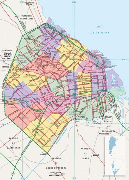 Mapa politico Ciudad Autonoma de Buenos Aires