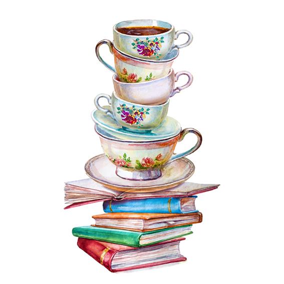 Libros y tazas